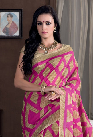 Light Coffee & Pink Color Bhagalpuri Casual Party Sarees : Rutali Collection  YF-46124