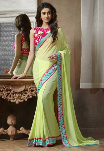 Pastel Green Color Georgette Festival & Function Sarees : Apsara Collection  YF-28614