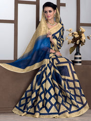 Light Coffee & Blue Color Bhagalpuri Casual Party Sarees : Rutali Collection  YF-46125