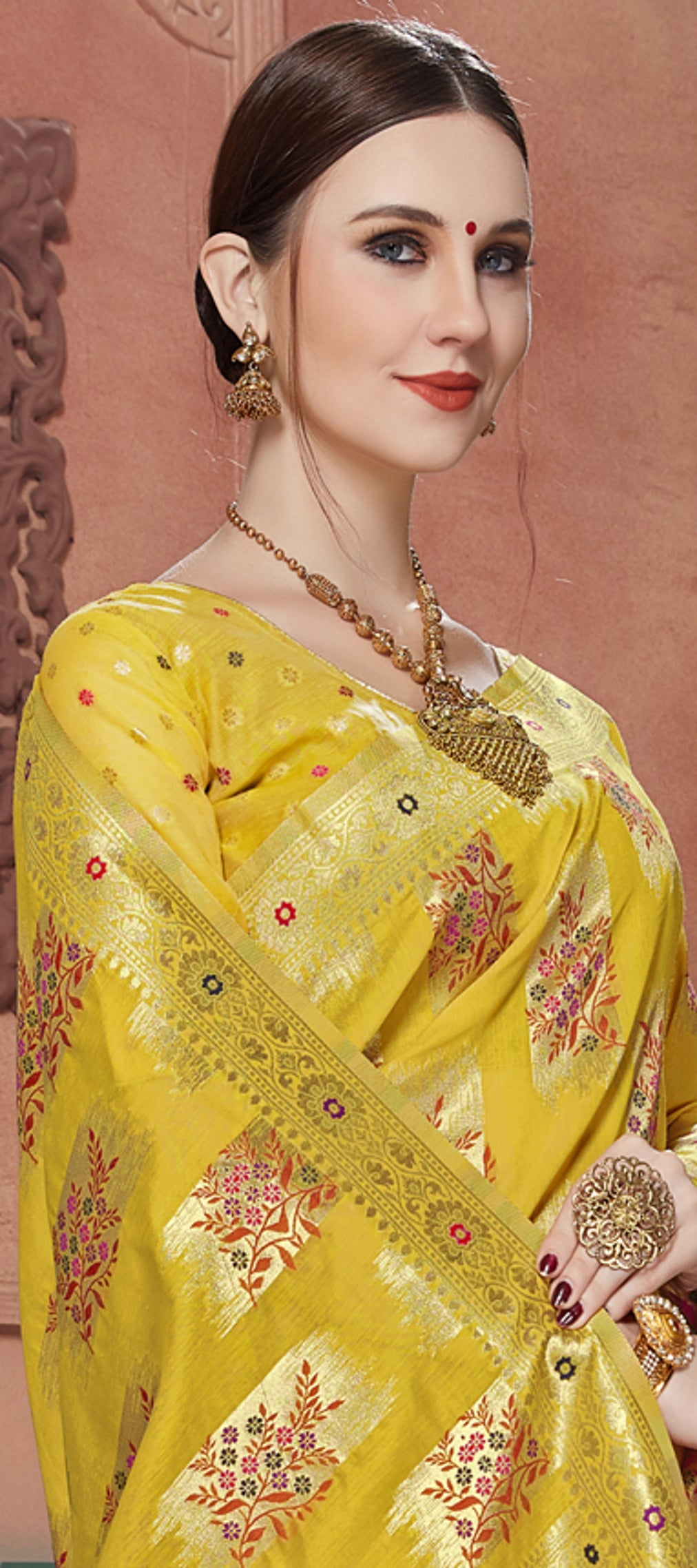 Yellow Color Banarasi Cotton Silk Dazzling Festive Sarees NYF-6247