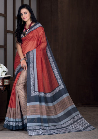 Brick Red Color Bhagalpuri Casual Party Sarees : Rutali Collection  YF-46127