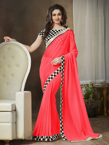 Shades Of Red Color Georgette Party Wear Sarees : Ishani Collection  YF-30012