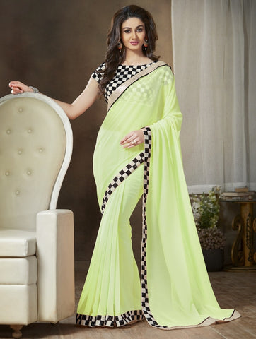 Pastel Green Color Georgette Party Wear Sarees : Ishani Collection  YF-30013