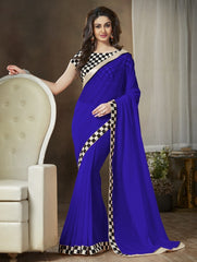 Blue Color Georgette Party Wear Sarees : Ishani Collection  YF-30014