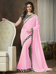 Baby Pink Color Georgette Party Wear Sarees : Ishani Collection  YF-30016
