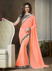 Dark Peach Color Georgette Party Wear Sarees : Ishani Collection  YF-30017