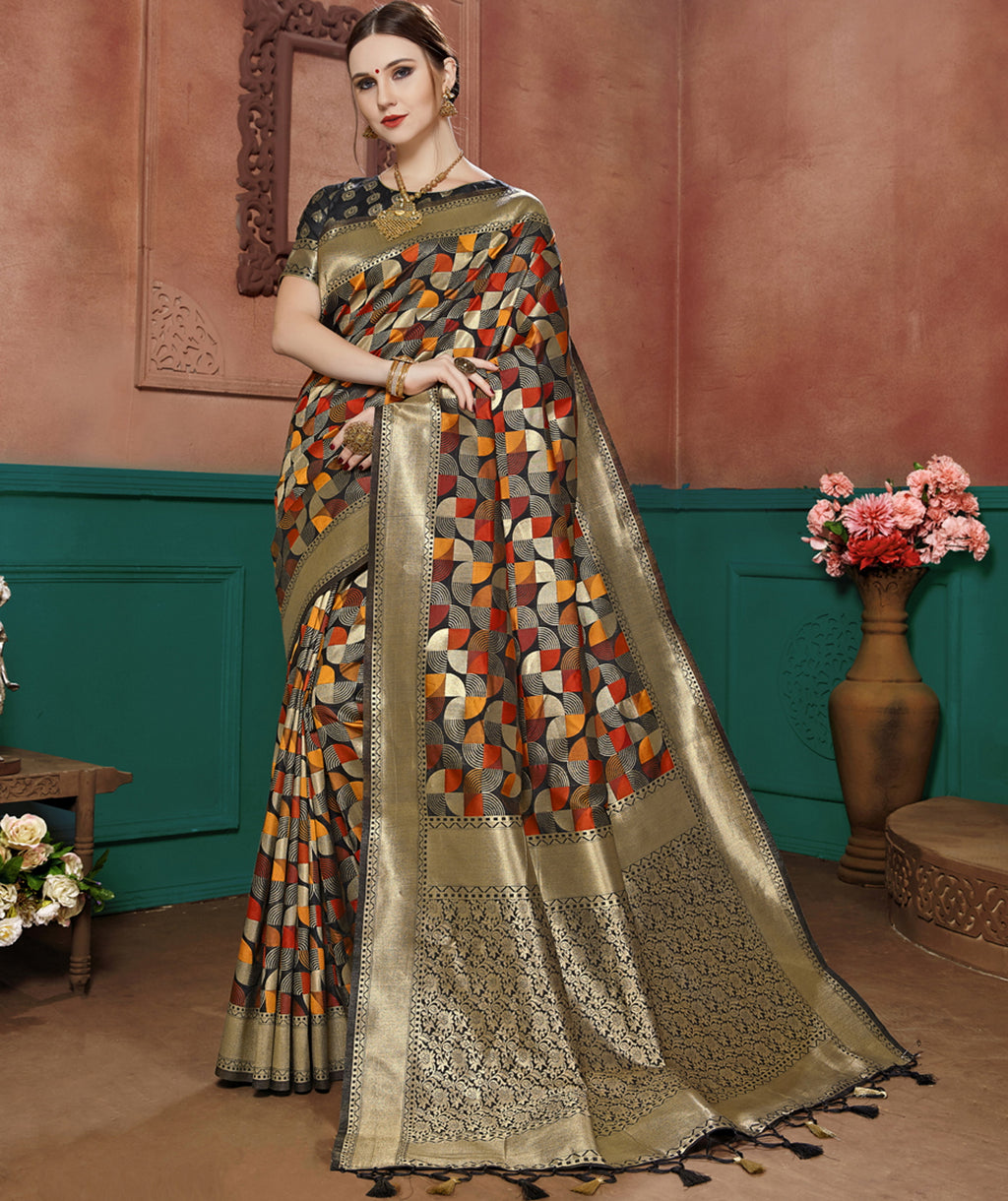 Black Color Banarasi Cotton Silk Dazzling Festive Sarees NYF-6248