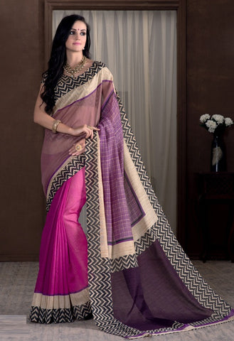 Pink & Purple Color Bhagalpuri Casual Party Sarees : Rutali Collection  YF-46128
