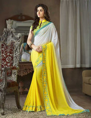 Yellow Color Georgette Festival & Function Sarees : Apsara Collection  YF-28616