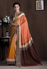 Yellow & Orange Color Bhagalpuri Casual Party Sarees : Rutali Collection  YF-46129