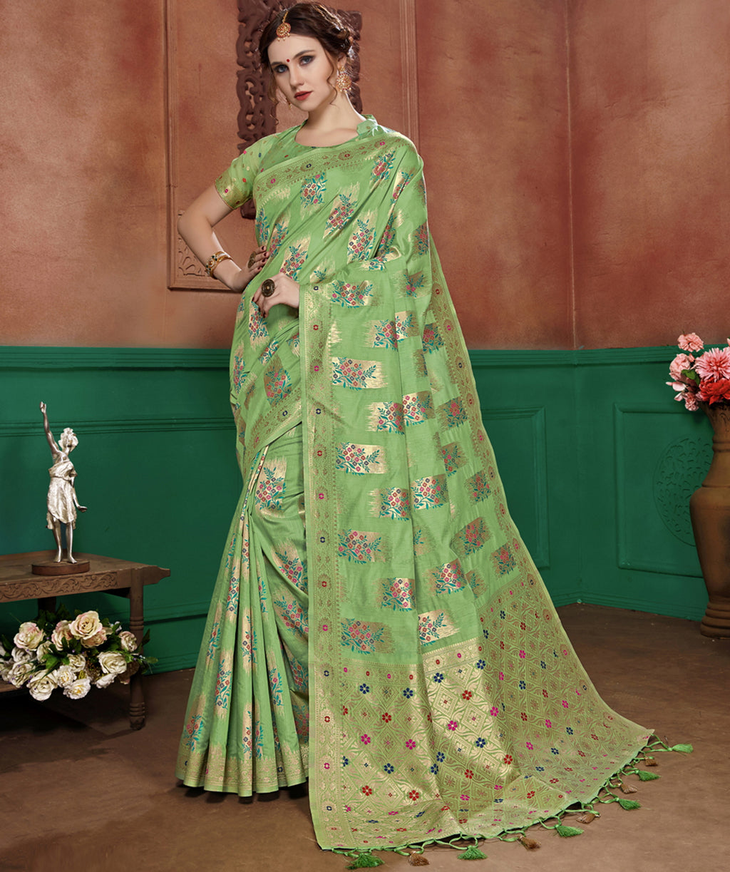 Pastel Green Color Banarasi Cotton Silk Dazzling Festive Sarees NYF-6249