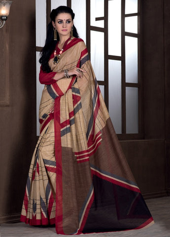 Light Coffee & Red Color Bhagalpuri Casual Party Sarees : Rutali Collection  YF-46130