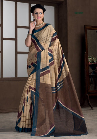 Light Coffee & Rama Blue Color Bhagalpuri Casual Party Sarees : Rutali Collection  YF-46131