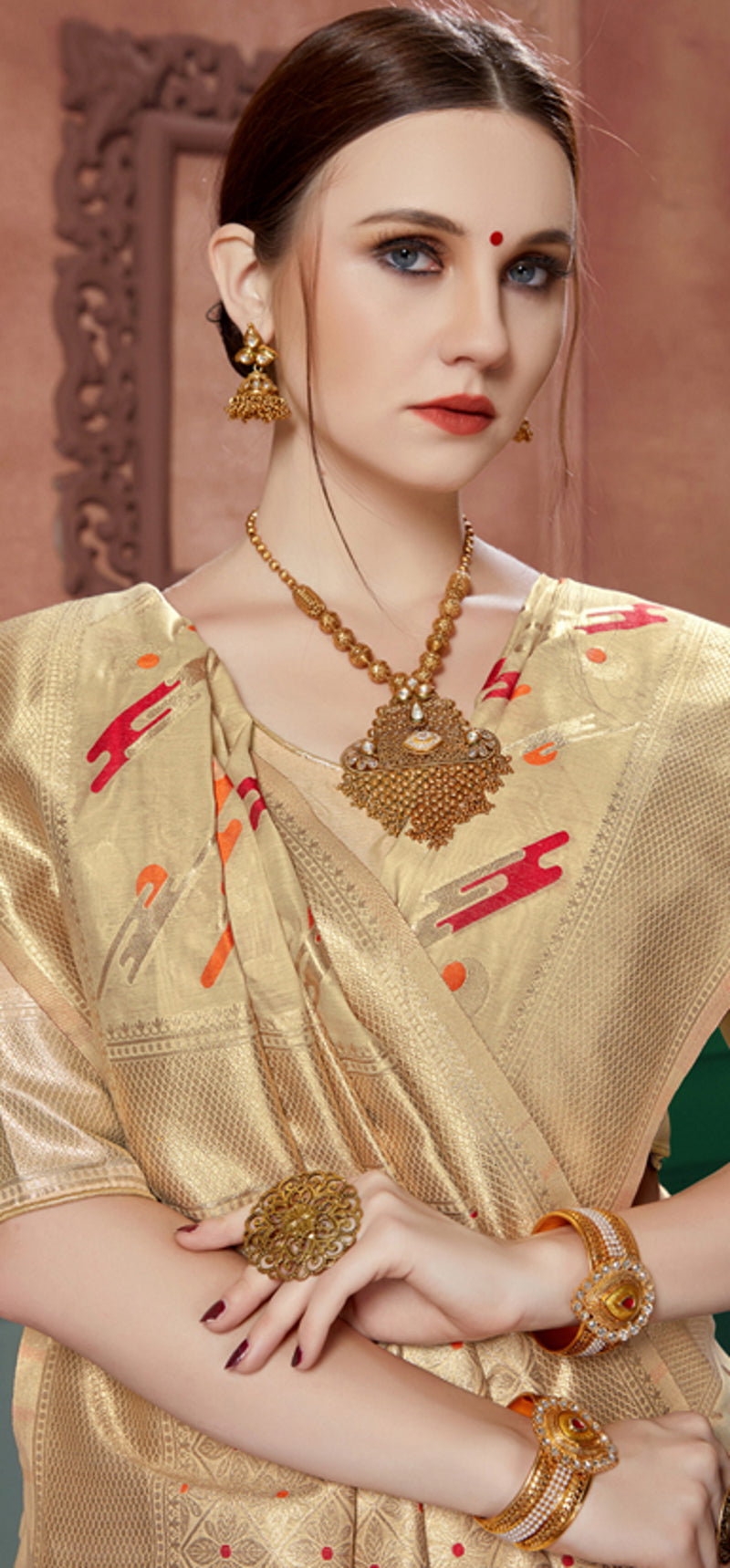 Golden Color Banarasi Cotton Silk Dazzling Festive Sarees NYF-6251