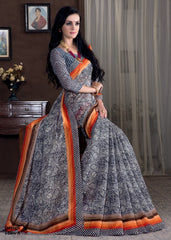 Off White, Black & Orange Color Bhagalpuri Casual Party Sarees : Rutali Collection  YF-46134