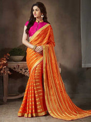 Orange Color Georgette Festival & Function Sarees : Apsara Collection  YF-28619