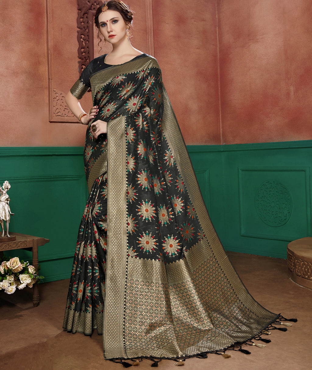 Black Color Banarasi Cotton Silk Dazzling Festive Sarees NYF-6252
