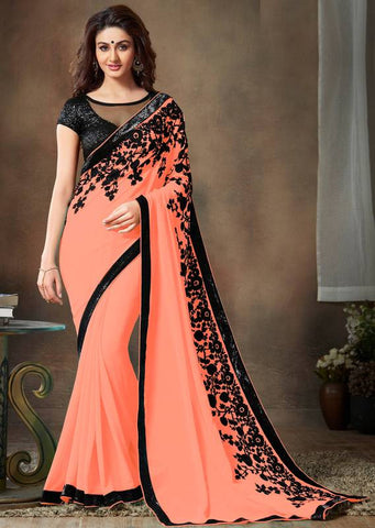 Peach Color Wrinkle Chiffon Festival & Function Wear Sarees : Zarna Collection  YF-51939