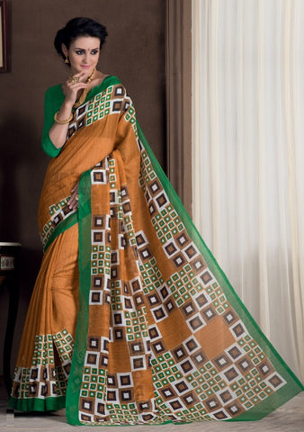 Mustard Yellow Color Bhagalpuri Casual Party Sarees : Rutali Collection  YF-46136