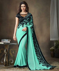 Sea Green Color Georgette Festival & Function Sarees : Apsara Collection  YF-28620