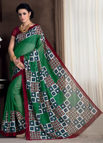 Green Color Bhagalpuri Casual Party Sarees : Rutali Collection  YF-46137