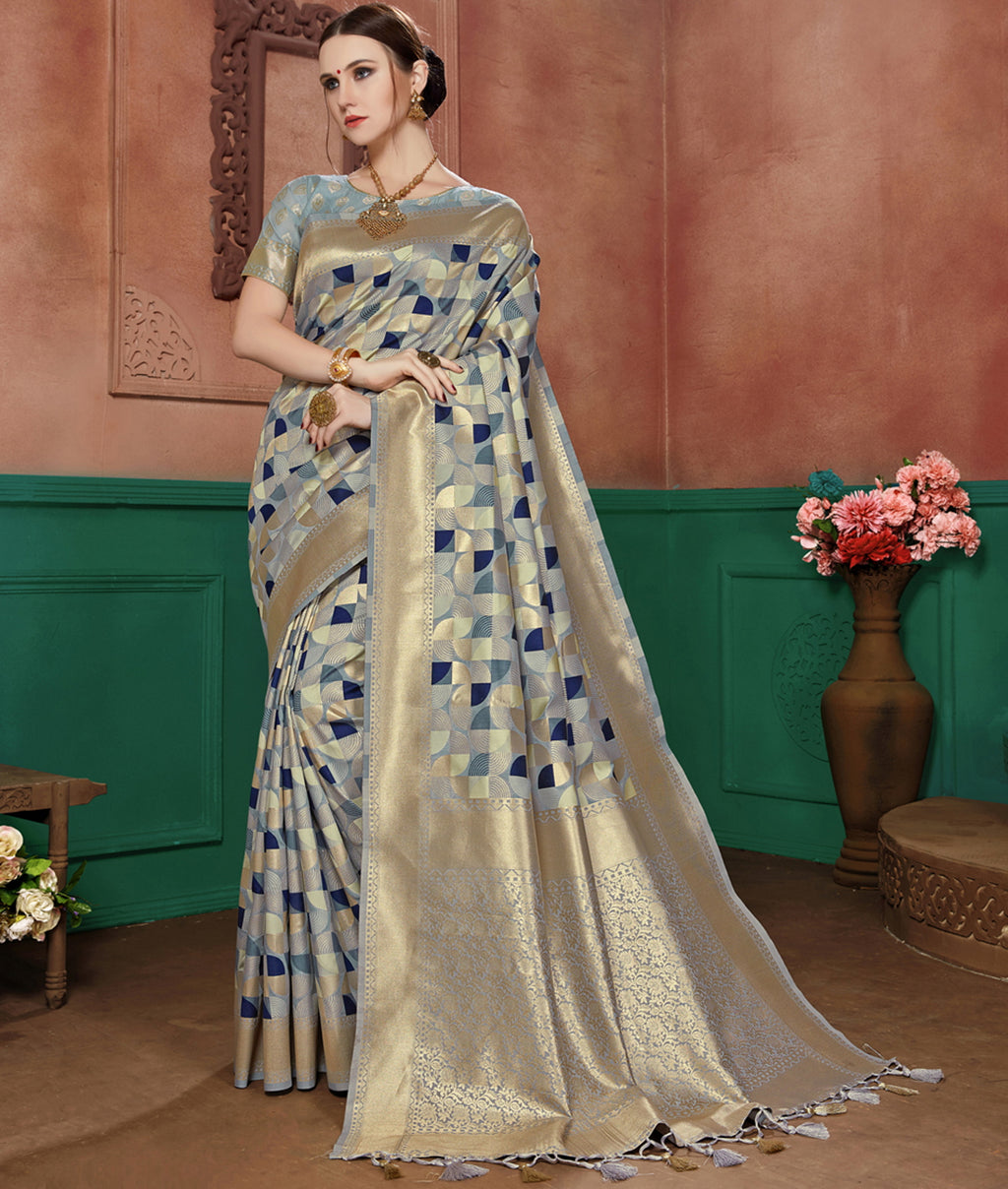 Grey & Blue Color Banarasi Cotton Silk Dazzling Festive Sarees NYF-6253