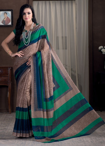 Light Brown, Green & Blue Color Bhagalpuri Casual Party Sarees : Rutali Collection  YF-46138