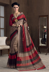 Light Brown & Red Color Bhagalpuri Casual Party Sarees : Rutali Collection  YF-46139
