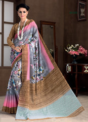 Grey & Pink Color Bhagalpuri Casual Party Sarees : Rutali Collection  YF-46140