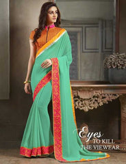 Shades Of Green Color Georgette Festival & Function Sarees : Apsara Collection  YF-28622