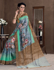 Grey & Sea Green Color Bhagalpuri Casual Party Sarees : Rutali Collection  YF-46141