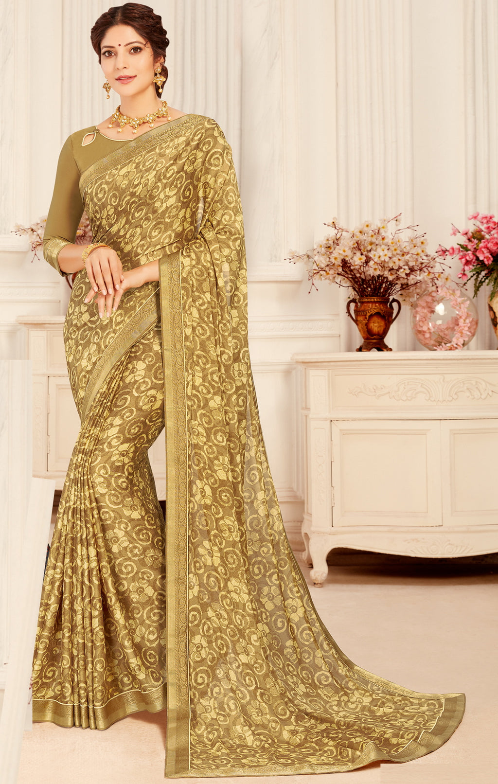 Beige Color Georgette Trendy Casual Party Sarees NYF-6338