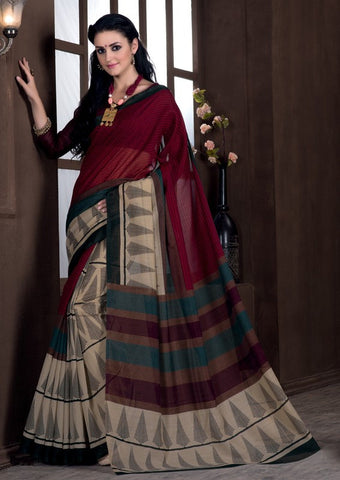 Light Coffee & Maroon Color Bhagalpuri Casual Party Sarees : Rutali Collection  YF-46296