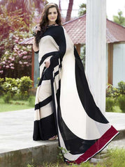 Cream & Black Color Italian Crepe Casual Wear Sarees : Shyamli Collection  YF-30027