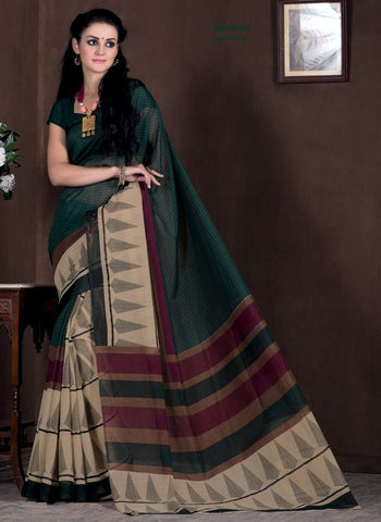 Light Coffee & Green Color Bhagalpuri Casual Party Sarees : Rutali Collection  YF-46297