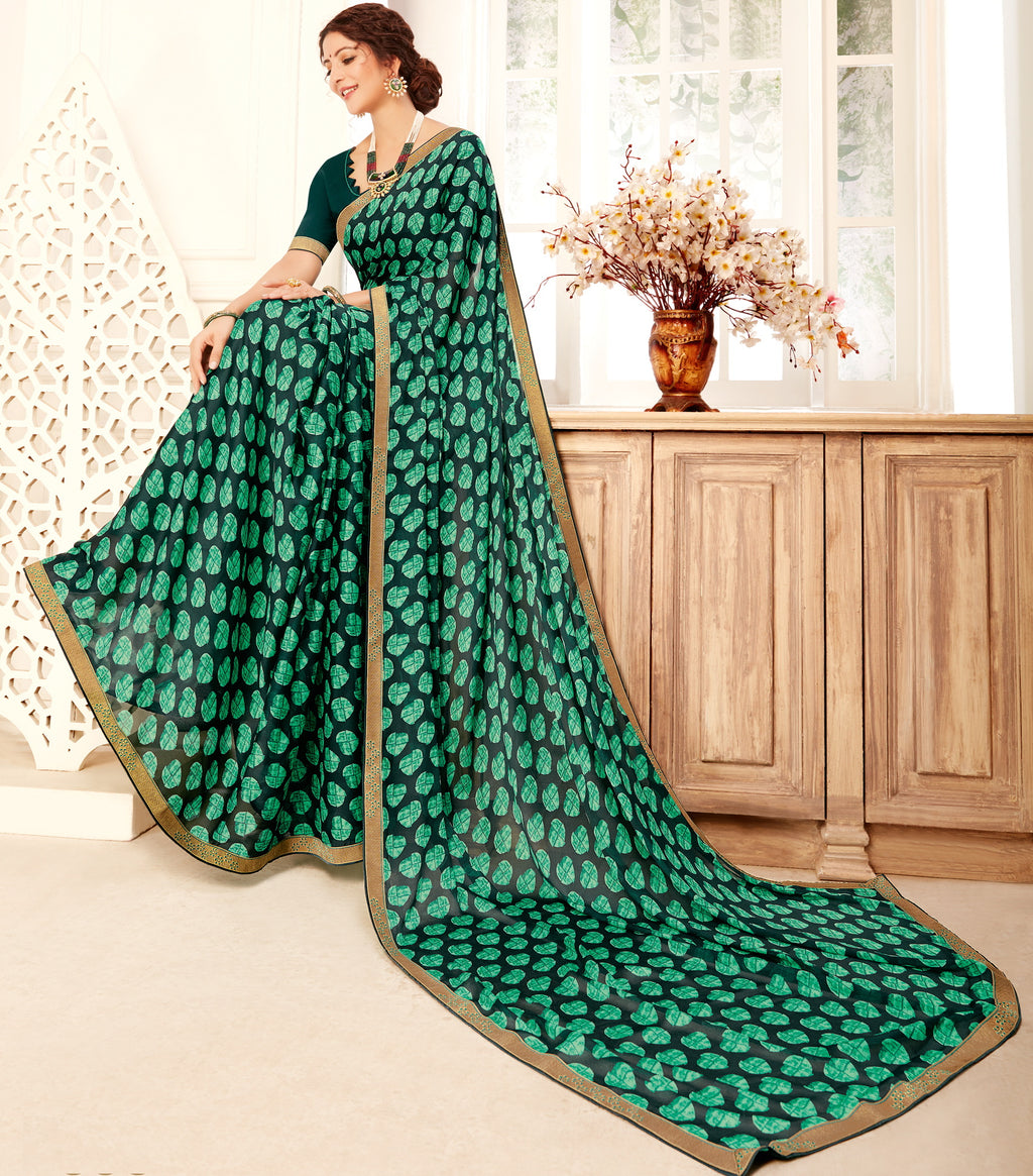 Green Color Georgette Trendy Casual Party Sarees NYF-6339