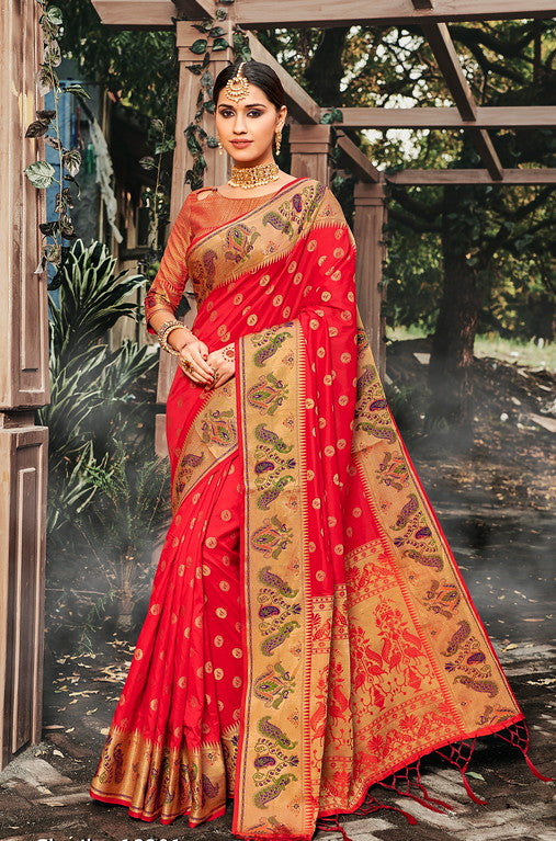Red Color Banarasi silk Festive Wear Sarees - Kesha Collection YF#10027