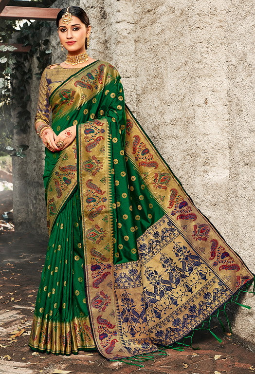 Green Color Banarasi silk Festive Wear Sarees - Kesha Collection YF#10028