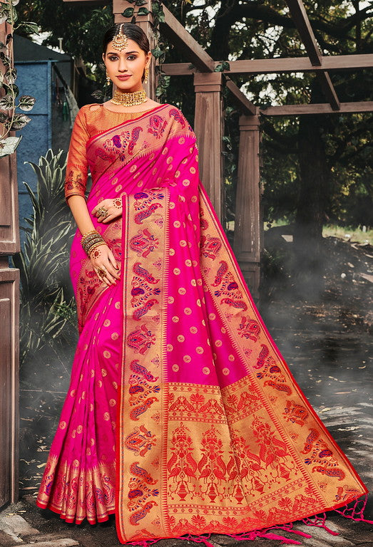 Pink Color Banarasi silk Festive Wear Sarees - Kesha Collection YF#10029