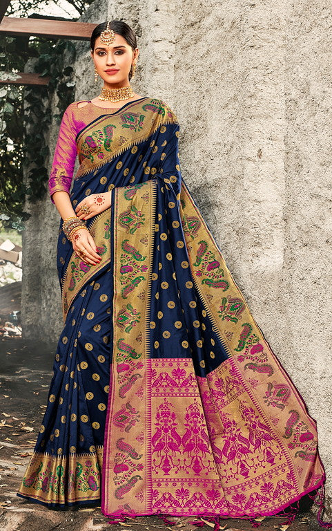 Navy Blue & Pink Color Banarasi silk Festive Wear Sarees - Kesha Collection YF#10030