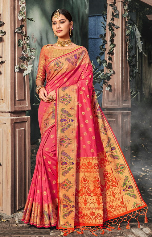 Pink Color Banarasi silk Festive Wear Sarees - Kesha Collection YF#10031