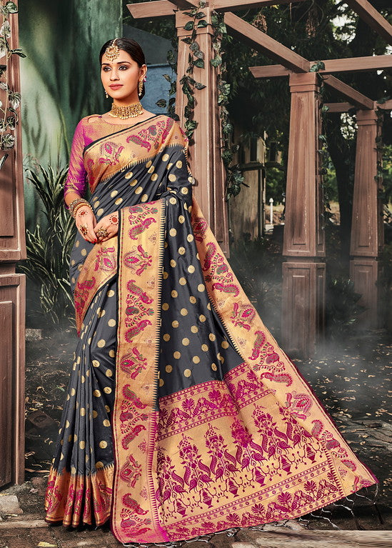Grey & Pink Color Banarasi silk Festive Wear Sarees - Kesha Collection YF#10032