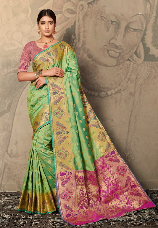 Green & Pink Color Banarasi silk Festive Wear Sarees - Kesha Collection YF#10033