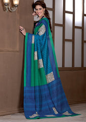Green & Blue Color Bhagalpuri Casual Party Sarees : Alika Collection  YF-44422