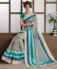 White, Grey & Green Color Bhagalpuri Casual Party Sarees : Alika Collection  YF-44424