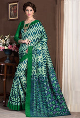 Green & Blue Color Bhagalpuri Casual Party Sarees : Alika Collection  YF-44426