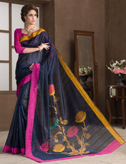 Blue Color Bhagalpuri Casual Party Sarees : Alika Collection  YF-44427