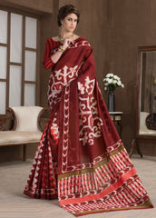 Maroon Color Bhagalpuri Casual Party Sarees : Alika Collection  YF-44431