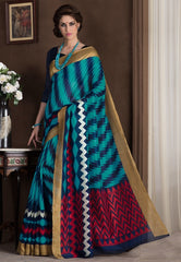 Firozi & Blue Color Bhagalpuri Casual Party Sarees : Alika Collection  YF-44434