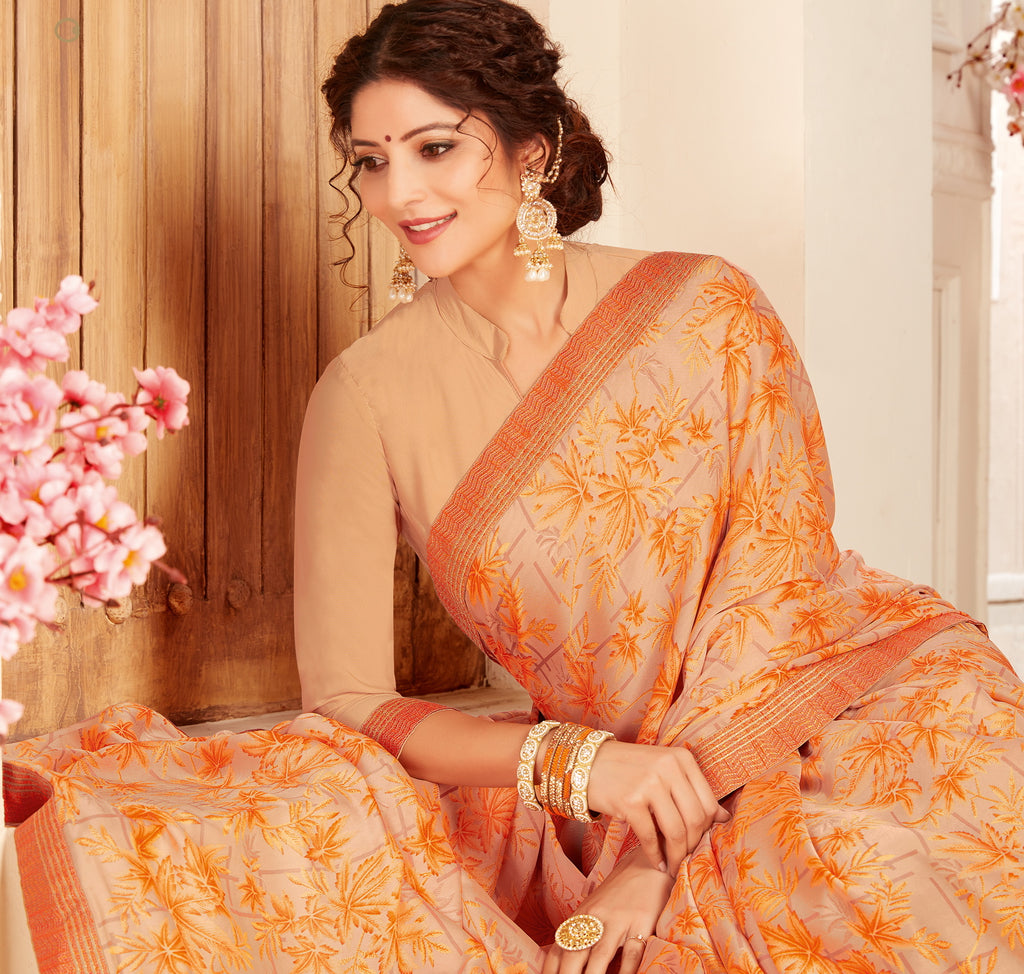 Peach & Orange Color Crepe Georgette Trendy Casual Party Sarees NYF-6341